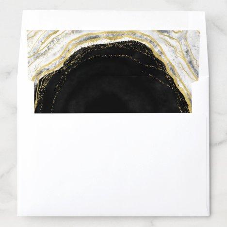 Black White & Gold Geode Agate Marble Wedding Envelope Liner