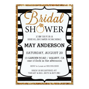 Black And White Bridal Shower Invitations Announcements Zazzle