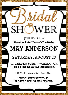 Black and gold bridal shower invitations announcements zazzle blackwhite gold glitter bridal shower invitation filmwisefo