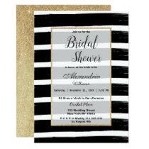 Black white gold glitter brushstroke Bridal Shower Invitation