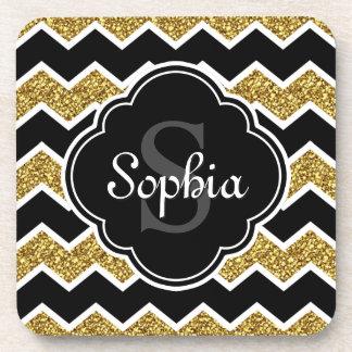Black White Gold Glitter Chevron Pattern Coaster