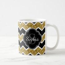 Black White Gold Glitter Chevron Pattern Coffee Mug