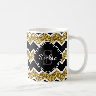 Black White Gold Glitter Chevron Pattern Coffee Mug