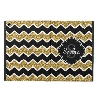 Black White Gold Glitter Chevron Pattern Cover For iPad Air