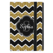 Black White Gold Glitter Chevron Pattern Cover For iPad Mini