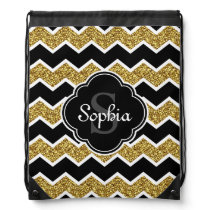 Black White Gold Glitter Chevron Pattern Drawstring Backpack