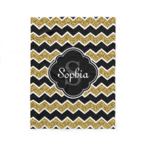 Black White Gold Glitter Chevron Pattern Fleece Blanket