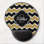 "Black White Gold Glitter Chevron Pattern Gel Mouse Pad<br><div class=""desc"">Stylish,  trendy black,  white,  and faux gold glitter chevron zigzag pattern with a quatrefoil label frame on top featuring a customizable monogram initial letter and name template.</div>"