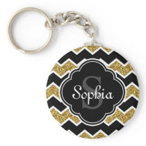 Black White Gold Glitter Chevron Pattern Keychain