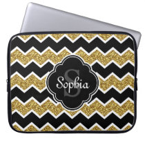 Black White Gold Glitter Chevron Pattern Laptop Sleeve