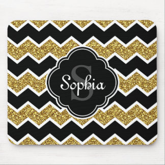 Black White Gold Glitter Chevron Pattern Mouse Pad