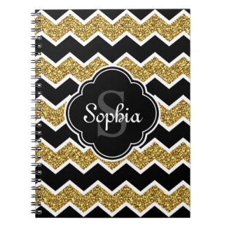 Black White Gold Glitter Chevron Pattern Notebook