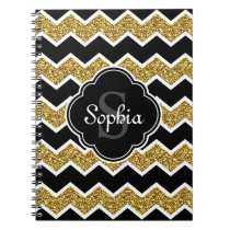 Black White Gold Glitter Chevron Pattern Spiral Notebook