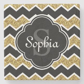 Black White Gold Glitter Chevron Pattern Stone Coaster