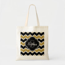 Black White Gold Glitter Chevron Pattern Tote Bag