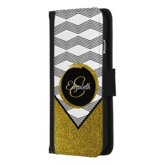 Black, White, Gold Glitter Initial Letter Monogram iPhone 8/7 Wallet Case