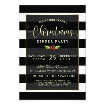 Christmas Themed Black & White | Gold Glitter Reindeer Christmas Card
