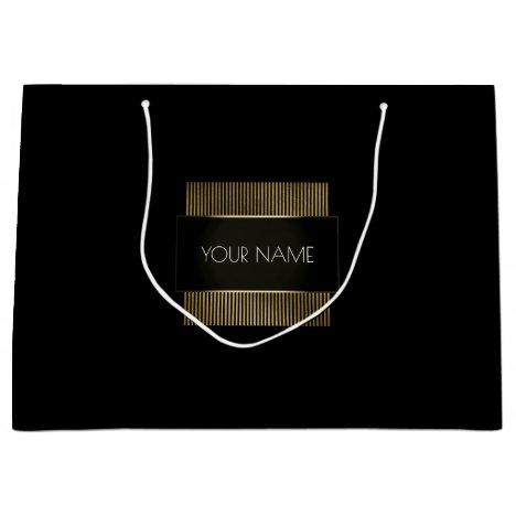 Black White Gold Minimal Luxury Branding Beauty Large Gift Bag