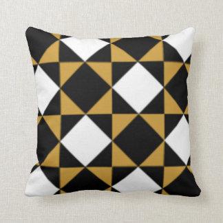 Black White Gold Modern Big Bold Diamond Pattern Throw Pillows