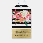 Black White Gold Modern Floral Glam Elegant Chic Gift Tags