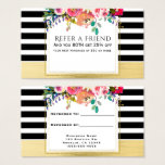 Black White Gold Modern Floral Glam Refer a Friend Business Card
