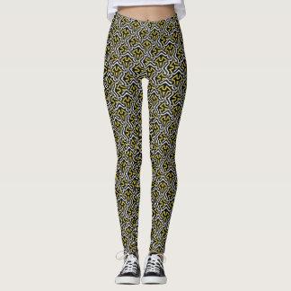 Black White Gold Pattern Leggings ★Unique Fashion★