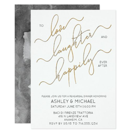 Black White Gold Script Rehearsal Dinner Invite