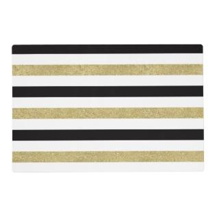 Black White Gold Stripes Placemat at Zazzle