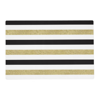 Black White Gold Stripes Placemat