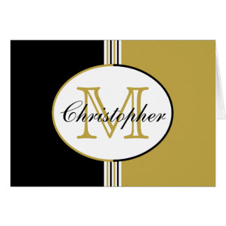 Black White Gold Stripes Stripes Monogram Stationery Note Card