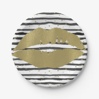 Black White Gold Watercolor Stripes and Dots Lips Paper Plate