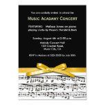 Black white & gold yellow musical concert recital 5x7 paper invitation card