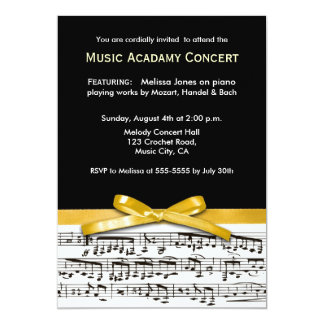 Black white & gold yellow musical concert recital card