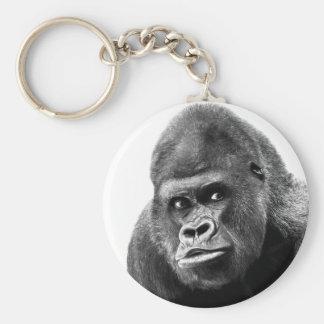 Black White Gorilla Basic Round Button Keychain