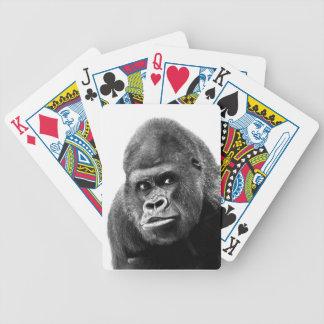 Black White Gorilla Bicycle Playing Cards