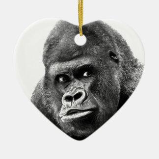 Black White Gorilla Ceramic Ornament