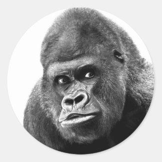 Black White Gorilla Classic Round Sticker