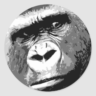 Black & White Gorilla Classic Round Sticker