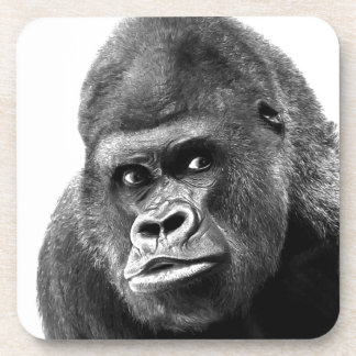 Black White Gorilla Drink Coaster