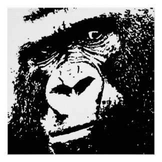 Black White Gorilla Face Pop Art Perfect Poster