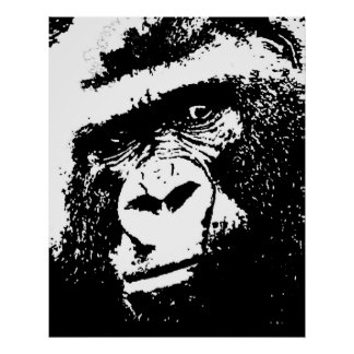 Black White Gorilla Face Pop Art Poster Print