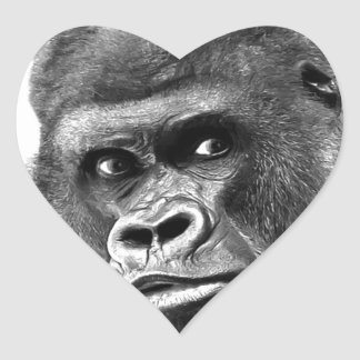 Black White Gorilla Heart Sticker