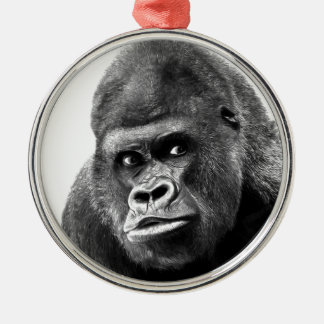 Black White Gorilla Metal Ornament