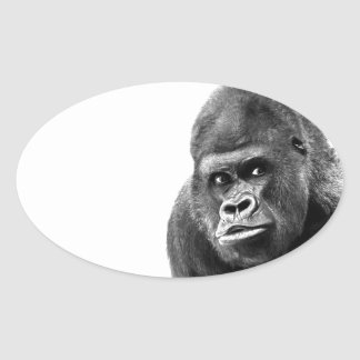 Black White Gorilla Oval Sticker