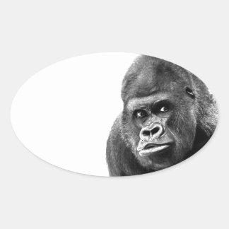 Black White Gorilla Oval Sticker