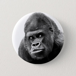 Black White Gorilla Pinback Button