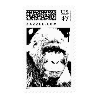 Black & White Gorilla Portrait Stamps