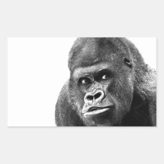 Black White Gorilla Rectangular Sticker