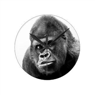 Black White Gorilla Round Clock