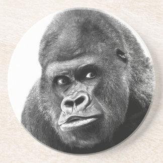 Black White Gorilla Sandstone Coaster